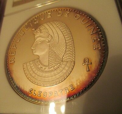 1970 Guinea Cleopatra NGC PF63 .999 Silver Proof Rainbow Toned Toning