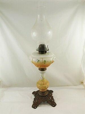 Antique Hand Painted Floral Milk Glass Oil Lamp w/Wing & Shield Pattern Base