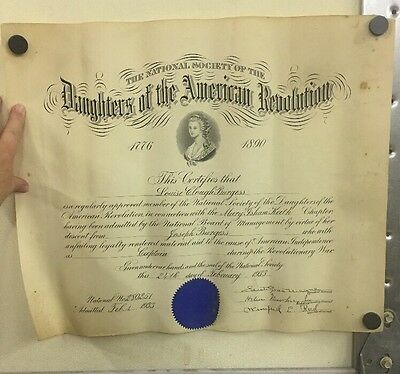 1933 Daughters of the American Revolution War Certificate