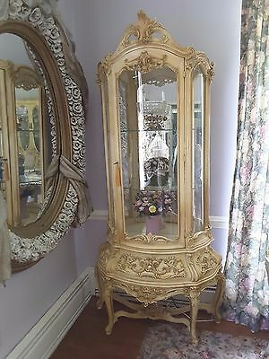 Curvy Vintage Italian Venetian Style Lighted Curio Display Cabinet Mirrored Back