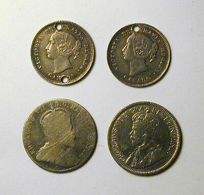 Four Old Canadian 5 and 10 cent Silver Coins: 1885-1913