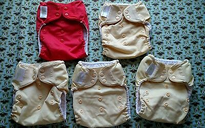 Lot of 5 BumGenius Pocket Cloth Diapers with Snaps - NR - No Inserts