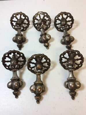 Lot Of 6 Antique Lacey Drop Pulls -Neat Used Pull Handles