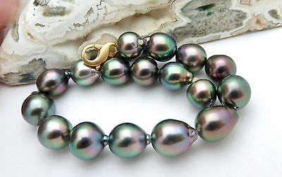 GORGEOUS AAA TAHITIAN BLACK PEACOCK 8.2-9.9mm CULTURED PEARL BRACELET RARE