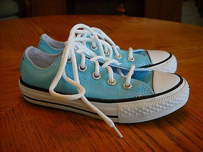 Girls CONVERSE ALL-STAR Canvas Lace-Up Sneakers/Shoes--Aqua--Size 11--FANTASTIC!