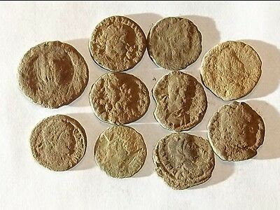 10 ANCIENT ROMAN COINS AE3 - Uncleaned and As Found! - Unique Lot 13904