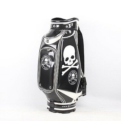 New Guiote Black Skull Golf staff bag caddie cart bag comes with Rainhood