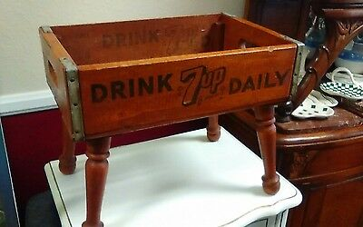"""Vintage """"Drink 7up Daily"""" Wooden Soda Crate Box Los Angeles"""
