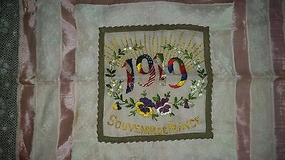 Wwi Souvenir Silk Lace Embroidered Pillow Cover