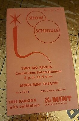 Vintage 1964 The Mint's Hotel Promotion Las Vegas Nevada show schedule