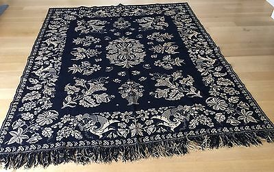 Antique Indigo Jacquard Coverlet, Nice Florals, Possibly Bergen County, 92 x 74