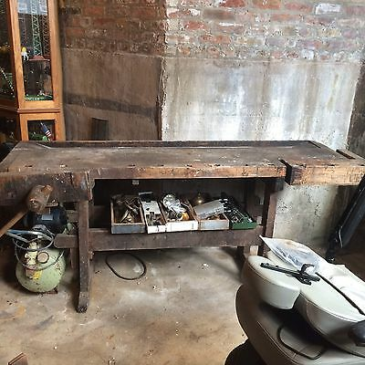 Antique Woodworking Bench And Vises