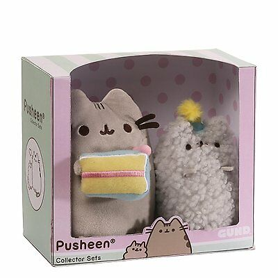 Gund PUSHEEN and Stormy Cat Stuffed Plush Birthday Cake  Decorative Gift Box Set