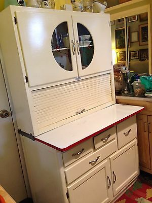 Vintage Art Deco Scheirich Roll Top Hoosier Kitchen Cabinet  Cupboard Circa 1930