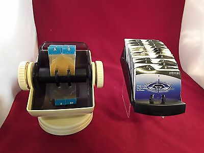 Vintage white Rolodex  Covered Address Card File Small Cards combo lot of 2