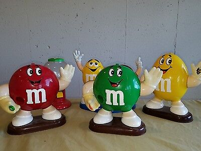 5 Assorted M&M's dispensers LOT red yellow green m&m