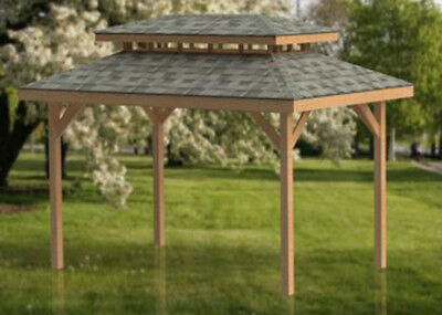 Square gazebo with open sides plans 10 39 x 10 39 perfect for Double hip roof design