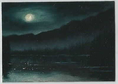 ACEO Miniature Original Oil Painting Night/Moon/Lake Landscape by CM