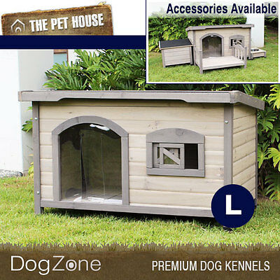 NEW Somerset Large Flat Roof Wooden Dog House Wood Timber Kennel