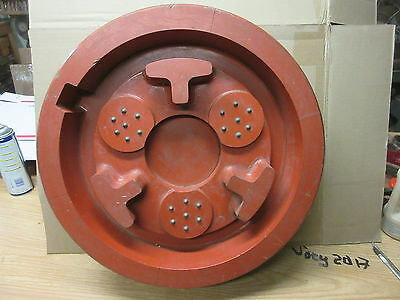 "vintage 21"" dia. wood foundry mold gear axle industrial art machine age table"