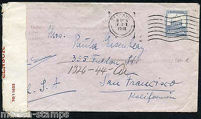 Israel Palestine Mandate Tel Aviv 1/7/41 Censored Cover To San Francisco
