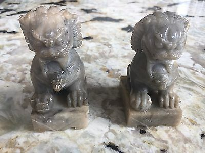 Pair Vintage Chinese Hand Carved Natural Green Jade Fu Dogs Guardian Lions