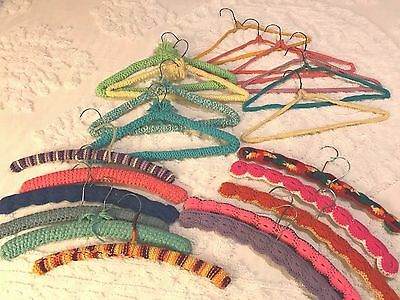 21 Vntage Crocheted Yarn Covered Clothes Hangers