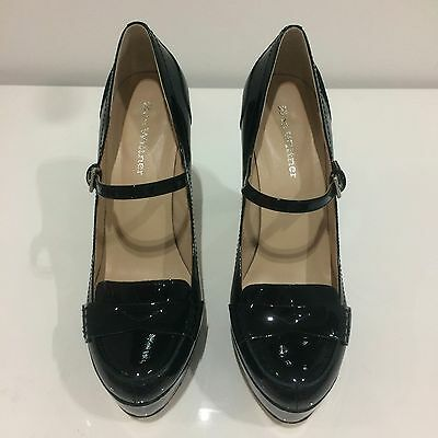 Wittner Black Patent Leather Mary Jane Pumps Size 38