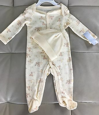 New First Impressions Baby Infant Romper Newborn Yellow Bodysuit &Hat 0-3 RRP$40