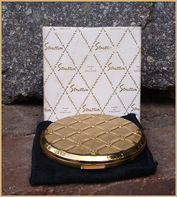 Vintage Retro Boxed Stratton Gold Flowers Compact Made in England