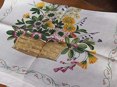 Vintage Linen Tea Towel - Floral Pattern in a Basket - Made in Ireland