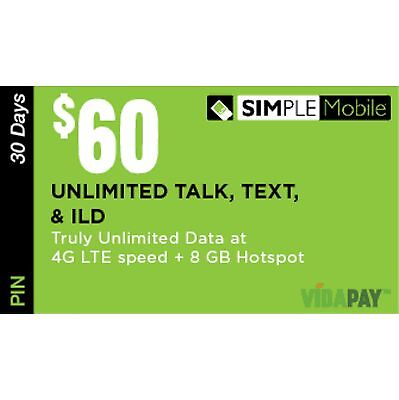 SIMPLE MOBILE $60 Plan With 8GB HOTSPOT, Directly to your phone. CHEAPEST IN US!