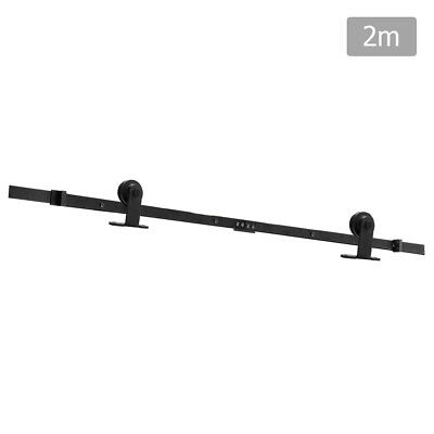 Sliding Barn Door Hardware Track Set Powder Coat Steel Black - 2M