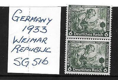 Germany Stamps - 1933 - Sg 516 (Pair) - Mint No Hinge - Printed On Reverse