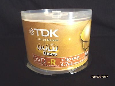 ~BN & SEALED 50 PACK TDK Gold Series DVD-R 4.7Gb 16X Blank Recordable Discs~