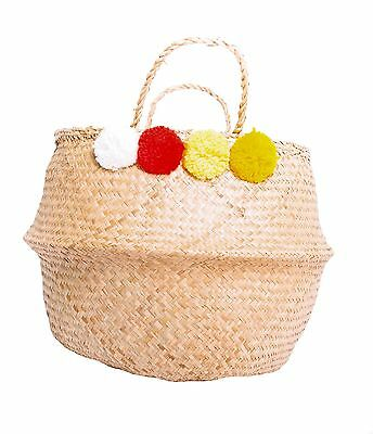 PomPom Seagrass Belly Basket Large Beach 6 Colours