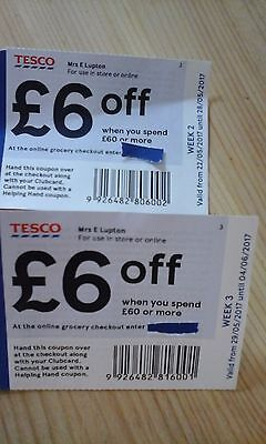 Tesco £6 off £60 spend coupons vouchers, two weeks worth