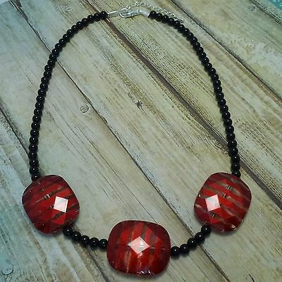 NECKLACE Red Black Beads Classic Everyday Wear Chunky Beads Statement Gift