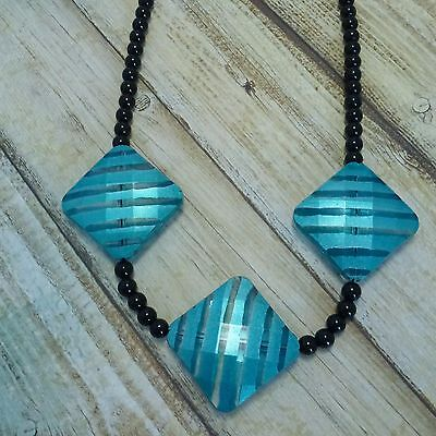 NECKLACE Teal Black Beads Classic Everyday Wear Chunky Beads Statement Gift