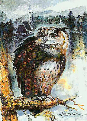 ACEO / Owl Limited Edition Print of Original Painting by Sergej Hahonin