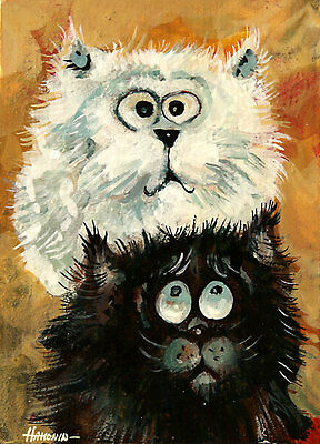 ACEO kittens black, white Limited Edition Print of Original Painting by Hahonin