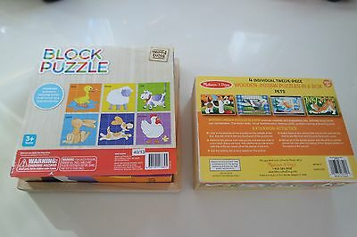 Melissa & Doug wooden 4-in-1 puzzles set plus Wooden block cube 6-in-1 puzzle