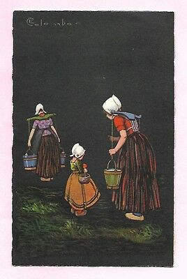 Colombo Artist Dutch Ladies and Children with Pails Postcard