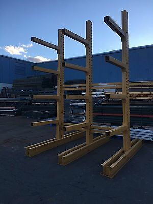 "12' Tall Jarke Cantilever Racking , 3 Tower Set 90"" Wide Overall For 8-16' Stock"