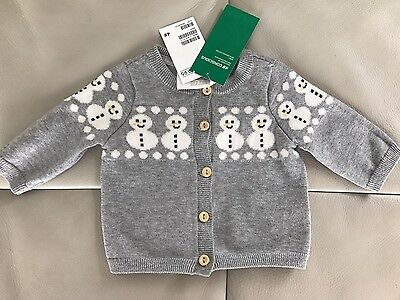 New H&M Conscious Baby Infant Sweater Newborn Snowman Grey Knit Jacket 0000