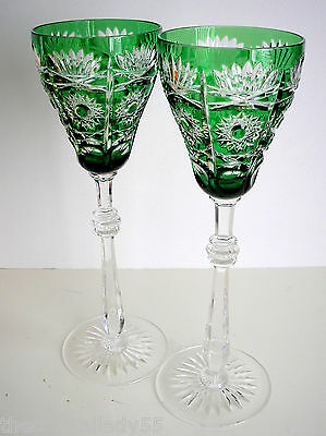 """2 Faberge Czar Bellagio Emerald Green Cased Cut To Clear 11""""  Wine Water Goblet"""