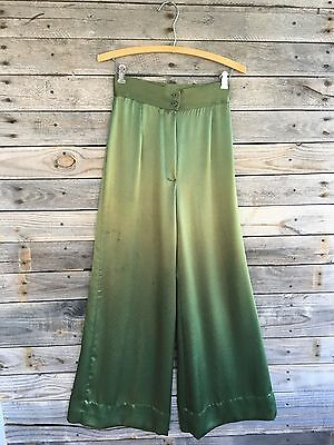 Vintage Fritzi of California Green Iridescent Wide Leg Silky Pants - Waist 25""