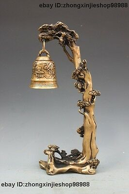 Chinese Tibet Bronze Copper Pine Tree Monkey Buddhism Small Bell Statue