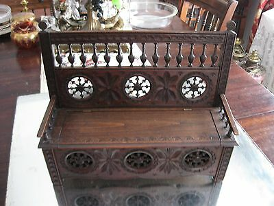 French Antique Breton/brittany  Carved Wood Miniature Doll Bench Trunk Furniture