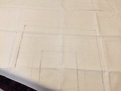Coarse Antique Heavy  Linen Table Cloth With Cutwork